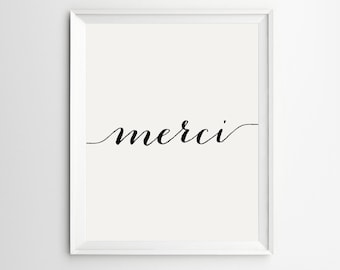 Merci Print, French Art, Thank You Decor, French Wall Art, French Poster, Paris Print, Wall Art, Merci Decor, French Country, French Decor