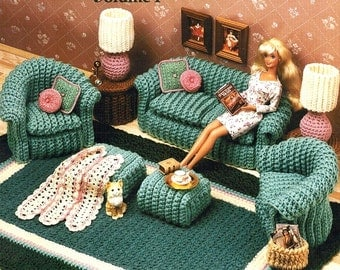 Fashion Doll Barbie Furniture Crochet Patterns The Living Room Couch Chair Rug Lamp Afghan Pillow Hassock End Table PDF Pattern - 1021