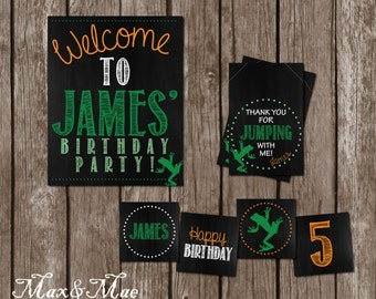 Frog Birthday Decorations, Frog Cupcake Toppers, Let's Jump Favor Tag, Frog Jump Welcome Sign, Digital, Printable