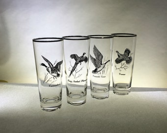 Set of Four Vintage Tumblers | Geese | Silver Rims