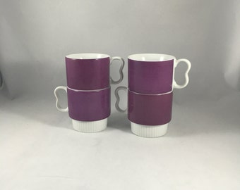 Vintage Japanese Mugs | Purple and White | Set of Four | Eight Ounces | B-Shaped Handle | Stackable