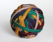 """Ready to Ship! Twisty Sock: """"Chill in the Air"""" - Gold, Winter Green, Tan, Navy, Wine Purple Stripes"""