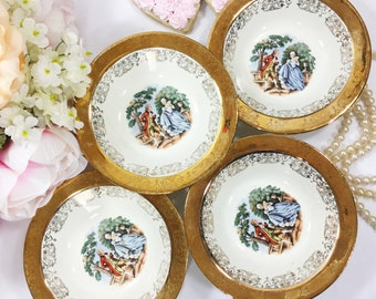 Set of 4 22 kt Gold Handpainted Colonial Couple, Fragonard, Love Story, Courting Couple Berry Fruit Bowls, Cereal Bowls, Ice Cream Bowls A46