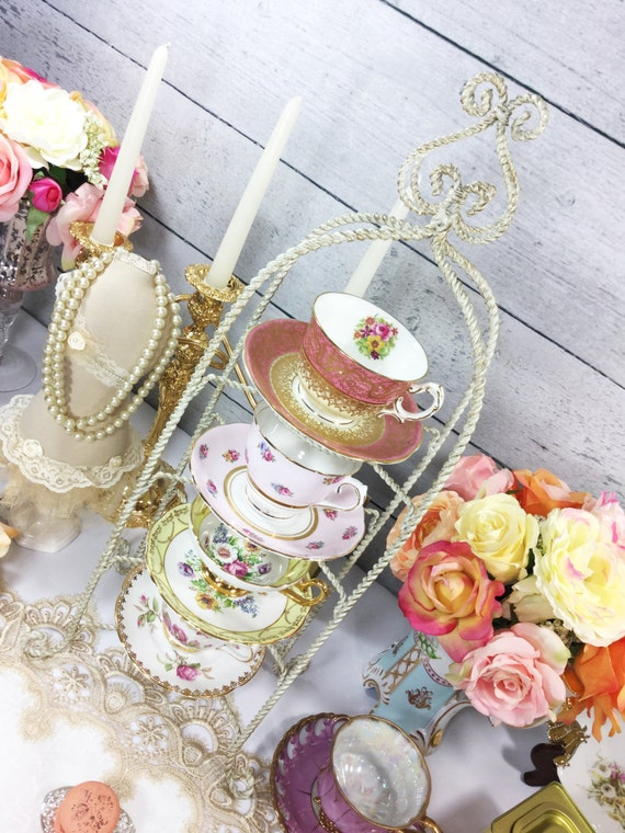 4 Tier Twisted Metal Shabby Chic Tea Cup And Saucer Display