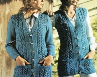 womens long cable cardigan & waistcoat knitting pattern 1970s aran style  32-42 inch DK womens knitting pattern pdf instant download