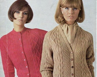 womens aran cardigans knitting pattern cable jackets 1970s v neck crew neck 36-42 inch DK womens knitting pattern pdf instant download