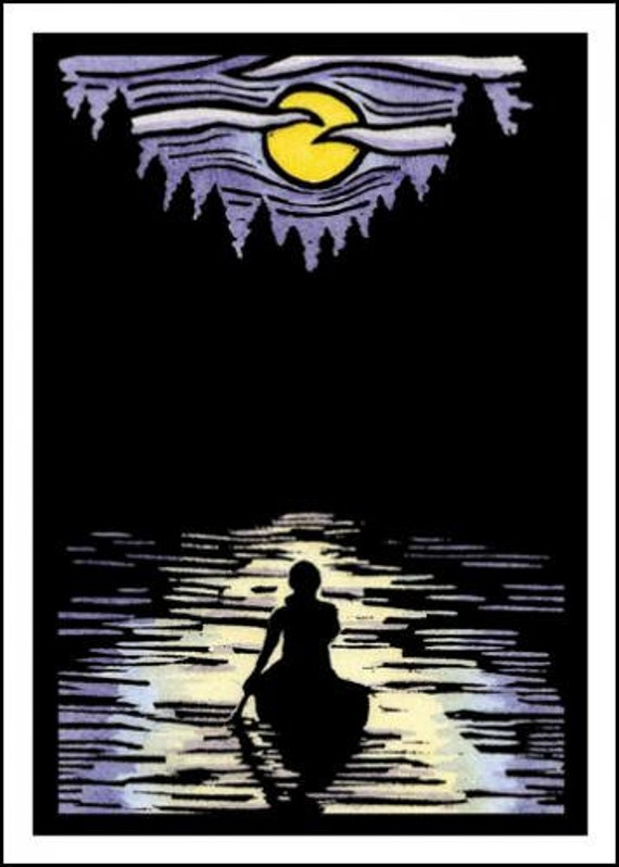 Solitude - Single Blank Sarah Angst Greeting Card - Canoe in the Moonlight