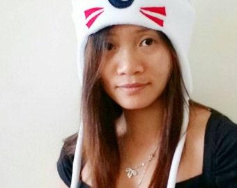 InuYasha - Sesshoumaru Hat - White Dog - Dog Ears - Dog Ear Hat - Fleece Dog Hat - Anime Cosplay - Aviator Hat - Anime Hat - Inuyasha Hat