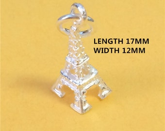5 Sterling Silver Eiffel Tower Charm, Paris Charm for Necklace Bracelet Earring, 925 Silver 3D Eiffel Tower Charm, Travel Charm - HY31