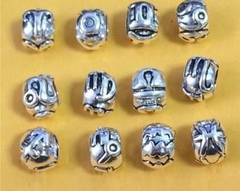 Sterling Silver Zodiac Bead for European Bracelet Aries Taurus Gemini Cancer Leo Virgo Libra Scorpio Sagittarius Capricorn Aquarius Pisces