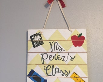 Wood Teacher Hanging Sign