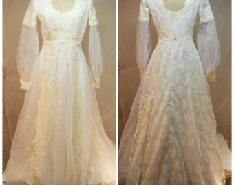 Vintage 80s Wedding Gown w Ivory Embroidered Lace Size 8 w Train