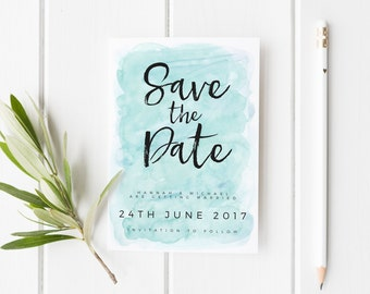 Save The Date Card, Summer Save The Date, Watercolour Wedding Invite, Personalized Wedding Card, Save Our Date Card, Rustic Summer Wedding