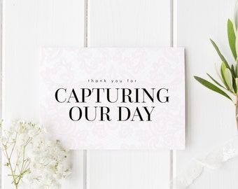 Thankyou Photographer Card, Elegant Lace Wedding Card, Thank You For Capturing Our Day, Card For Wedding Photographer, Card For Photographer