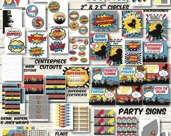 Superhero Party Decorations - Superhero Birthday Party - Superhero Party Printables - Superhero Birthday Decor - Superhero Banner - Super h