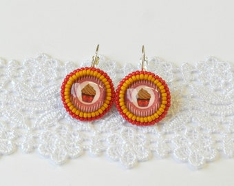 Muffin Earrings, Sweet Cupcake Earrings, Baking, Sweets Cupcakes Red Mustard Beaded Food Dessert Baking, Medium Size, Stocking Stuffer