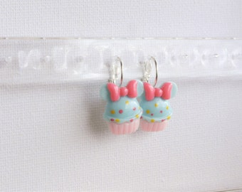Little Girl Earrings, Pink Pastel Colors, Disney Inspired Jewelry, Bow Cupcake Earrings, Pink Blue, Gift Stocking, Disney Ears, Minnie Mouse