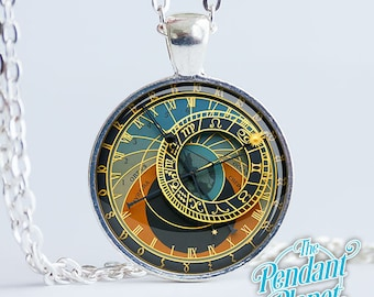 Astronomical Clock necklace, astronomy jewelry, photo-realistic, art pendant, astronomy gifts, gift for father, astronomy nerd, gift for him