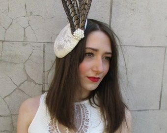 Ivory Cream Brown Pheasant Feather Fascinator Hair Clip Vintage 1940s 1930s Y20