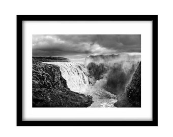 iceland photography, Iceland, waterfall, Iceland art, black and white art, landscape, black and white photography, black and white print
