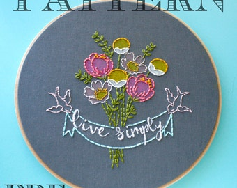 Embroidery Pattern>Live Simply>Instant Download PDF>Hand Embroidery Pattern>Printable Stitching Pattern