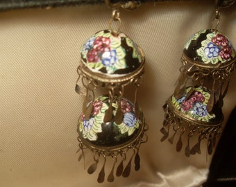 19th Century Qajar Persian Dome Silver Earrings