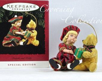 1994 Hallmark Lucinda and Teddy Bear Keepsake Ornament Special Edition Victorian Artist's Favorite Vintage
