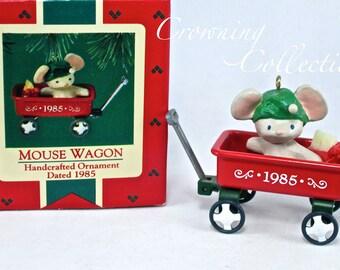 1985 Hallmark Mouse Wagon Keepsake Ornament Red Pull Wagon Vintage Mice Cheese