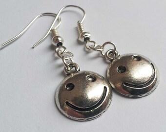 Smiley Face Earrings , Smile Earrings , Silver Earrings , Happy Earrings , Retro , Kitsch , Handmade Jewelry , Cute Gift , Friend Gift