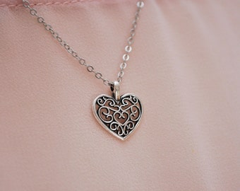 Minimalist heart chain necklace, charm heart pendant, silver tone necklace, gift for here