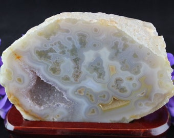 Agate , Crystal Geode,  Slice in Stand - S2