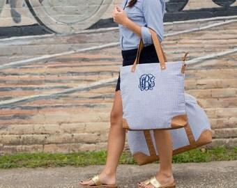 Monogrammed Bag, Tote Bag, Seersucker Tote Bag, Monogrammed Seersucker Bag, Monogrammed Tote, Navy Seersucker, Bridesmaids Gifts