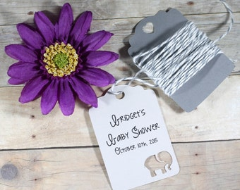 Personalized Grey Baby Elephant Tags Set of 20 - Custom Light Grey Elephant Tags - Grey Gift Tags - Neutral Baby Shower Decorations