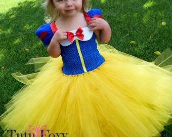 Snow White Tutu Dress, Snow White Costume, SnowWhite Birthday Outfit, Princess Tutu Dress-Yellow and Blue Tutu Dress