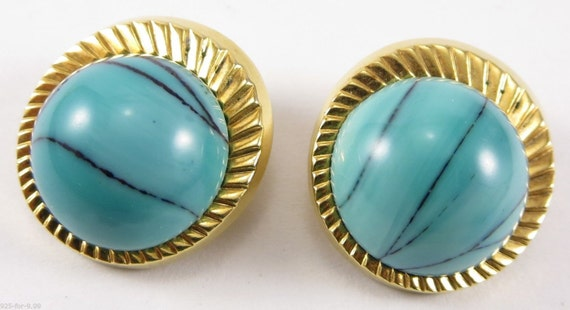 VTG Blue Stone Nettie Rosenstein Clip Earrings