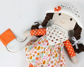 Cloth handmade doll, doll with crochet hat and scarf, orange doll, doll for girls