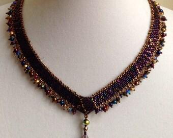Purple Iris Knot Necklace