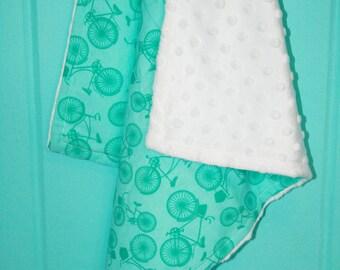 Lovie Blanket, Security Blanket, Bicycle Print, Baby Bedding, Nursery Decor