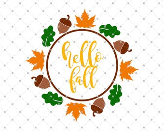Fall Wreath SVG Cut Files, Wreath svg, Fall Monogram frame svg, Fall SVG files for Cricut and Silhouette, svg files