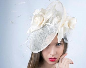 Cream Wedding hat, Wedding Hat, Romantic hat, Tea party hat, wedding fascinator, Bridal veiled hat, Bridal fascinator, Ivory fascinator