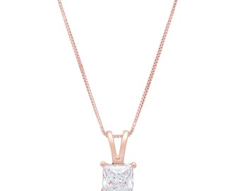 """1.15CT Simulated Princess Cut 14K Rose Gold Pendant Necklace +16"""" Chain Summer Jewelry Gift"""