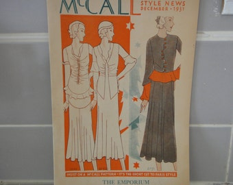 Vintage Sewing Pattern Catalog Booklet McCall's Style News from December 1931 - ORIGINAL