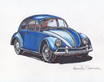 Classic Volkswagen Beetle Illustration Drawing Original Art Print Vintage VW Beetle Wall Art Old Automobile Blue Retro Car Gift Under 20
