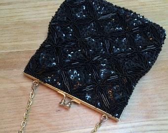 Black Beaded Evening Bag, Du Val Vintage Purse, Beaded Handbag, Gold Chain Handle Beaded Purse, Style No. 1629