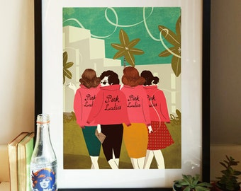 Grease Pink Ladies 1950s Illustration Poster A3