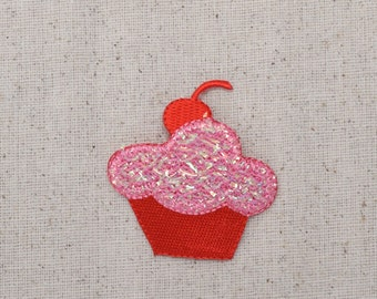 Pink and Red - Shimmery Cupcake - Cherry on top - Iron on Applique - Embroidered Patch - 693991-A