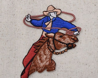 Western - Rodeo Roper - Cowboy and Horse - Lasso - Iron on Applique - Embroidered Patch