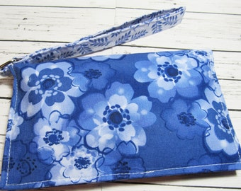 Blue Flowers Smartphone Wristlet, iPhone Wristlet Wallet, Cell Phone Holder, Phone Wallet, Fabric Wristlet Wallet, Gift for Her