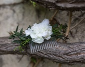 Flower Hair comb floral green white fairy hair flowers wedding comb bridal hair fashion accessories barn wedding woodland style leaves