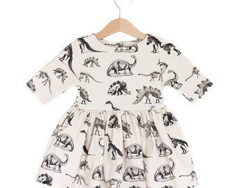 Dinosaur on Cream Organic Cotton Baby Dress